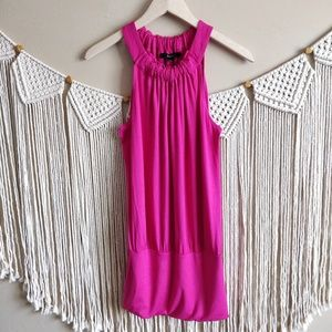 EXPRESS Pink Ruched Tank Flowy Fitted Mini Dress S